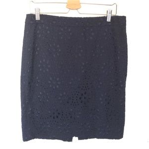 J. Crew The Pencil Eyelet Navy Skirt Women's 10